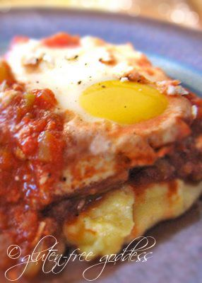 Spicy eggs on polenta: Huevos Diablo #glutenfree