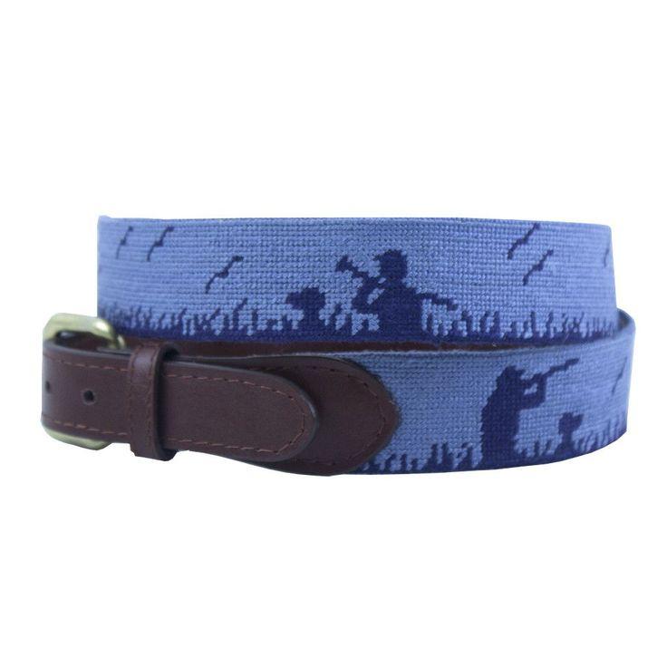 Bird Hunter Needlepoint Belt in Steel Blue by Smathers & Branson