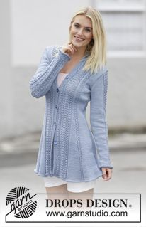 "Blue Bird Song - Knitted DROPS jacket with lace pattern and shawl collar in ""Muskat"" or ""Belle"". Size: S - XXXL. - Free pattern by DROPS Design"