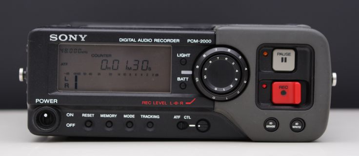 The Sony PCM-2000 Portable DAT recorder ( year 1988)  features 48kHz and 44.1kHz 16 bit recording from line, mic, or digital AES/EBU inputs, and has 48V and12V mic powering. The unit operates on one NP-1 battery, and comes with a padded field case.