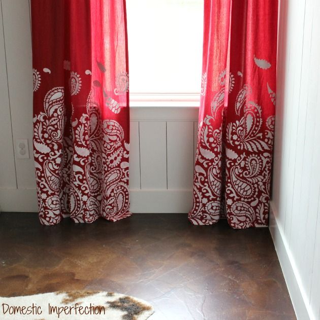 I love these gradual stenciled curtains by Domestic Imperfection. Thinking maybe for the dining room?