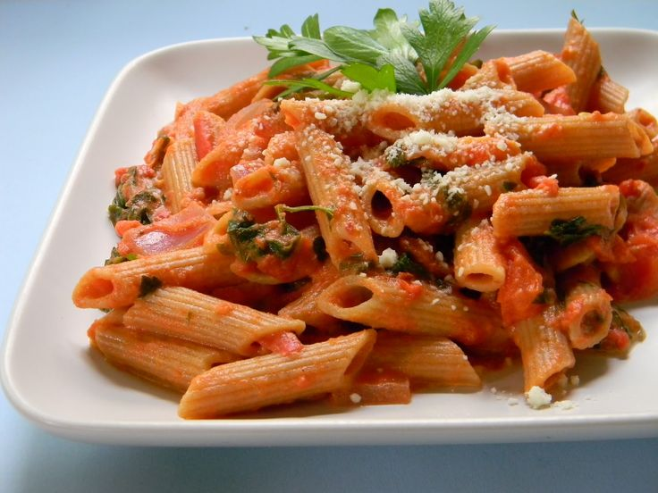 Penne Alla Vodka : 1 lbs – penne pasta 2 tbsp – EVOO 6 oz – pancetta 1 each – small onion minced ¼ cup – tomato paste ¼ cup – vodka 2/3 cup – heavy cream Salt and pepper to taste 6 each – basil leaves Freshly grated Parmesan cheese to top  *For the full recipe, visit our website!