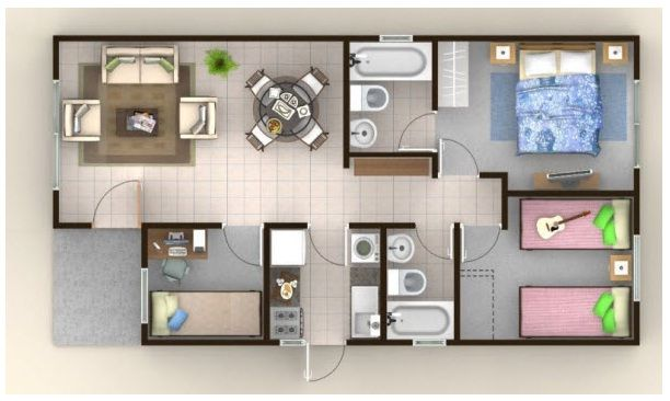 Plano 55m2 planos pinterest for 55m2 apartment design