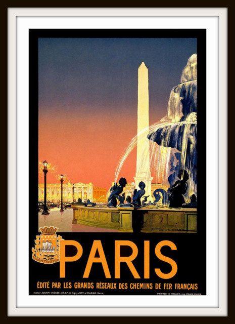 Vintage Travel Poster  Paris circa 1920  by RosiesVintagePrints, $25.00