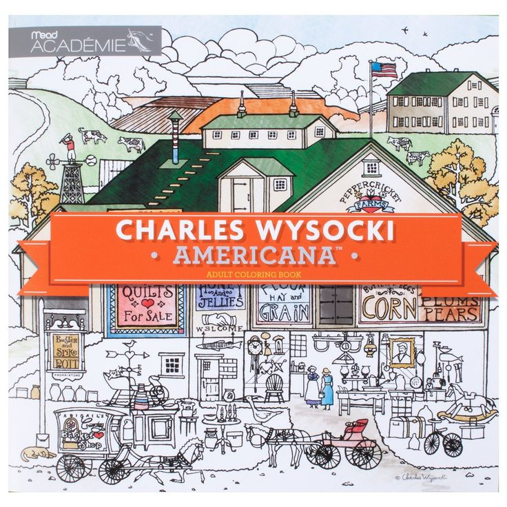 Adult Coloring Book Charles Wysocki Americana By Mead Academie Stress Relief Sketching