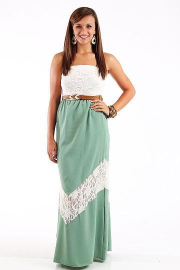 The Lena Lace Maxi Dress, mint $58.50 www.themintjulepboutique.com