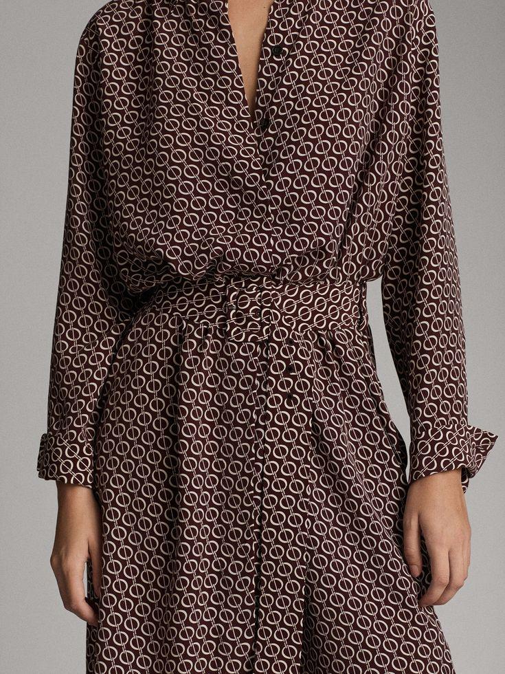 Massimo Dutti – Women – Chain print shirt dress – Raspberry – 40