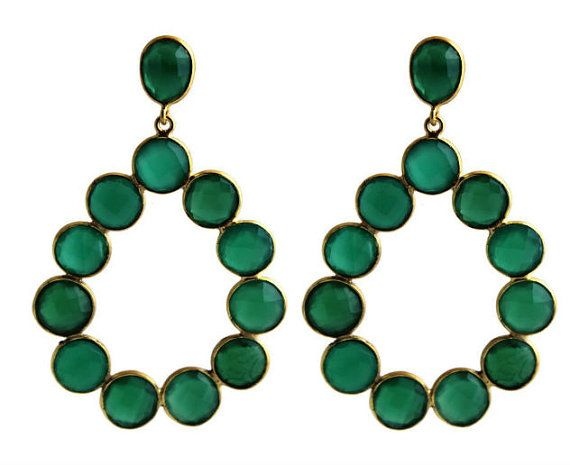 Faceted Green Onyx Chandelier   Earposts / by SilversmithLisa