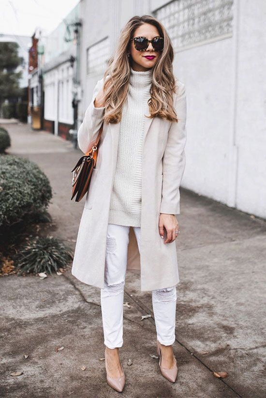 White coat, white turtleneck tunic, white skinny jeans, beige heels, brown round sunglasses, brown suede shoulder bag - Winter outfits, winter work outfits, winter office wear, winter fashion, fashion 2017, winter fashion trends 2017, fashion trends 2017, street style, all white outfits, neutral tone outfits.