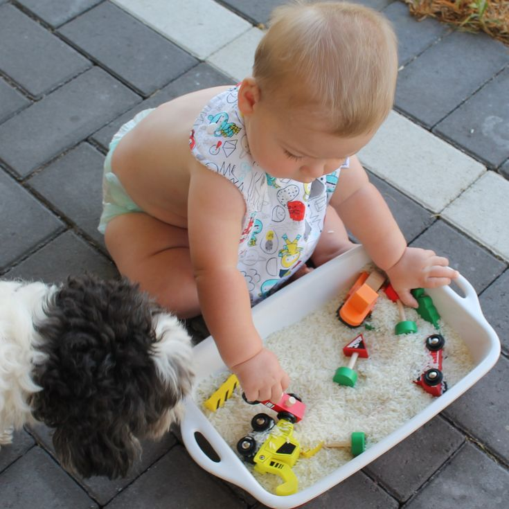Check it out! Rice Sensory play