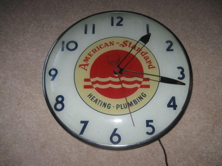 Vintage Advertising Electric Wall Clock American Standard