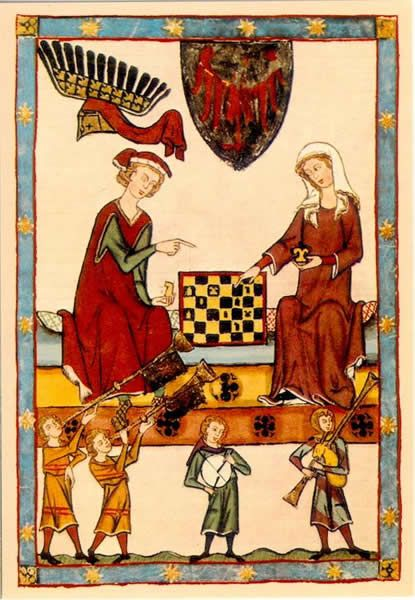 1301-1333 Zürich    Le Roi Otto IV de Brandenburg jouant aux échecs avec une femme  Manessische Liederhandschrift oder Große Heidelberger Liederhandschrift