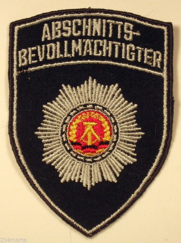 ABSCHNITTS BEVOLLMACHTIGER - EAST GERMANY GERMAN GDR DDR POLICE PATCH on Green