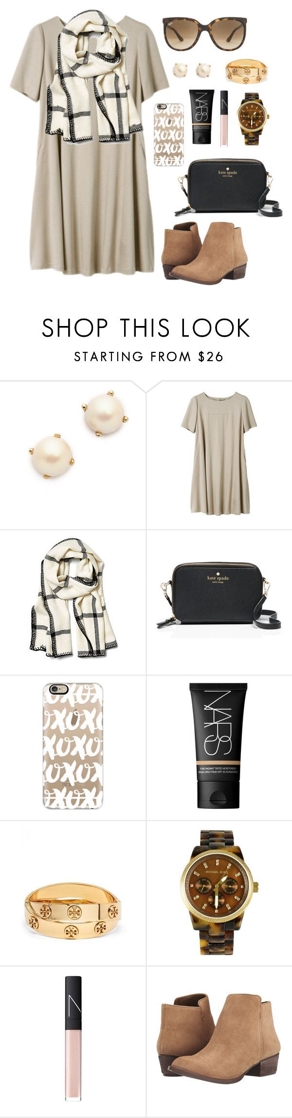 """current mood:"" by lillianjester ❤ liked on Polyvore featuring Kate Spade, Alicia Adams, Casetify, NARS Cosmetics, Tory Burch, Michael Kors, Jessica Simpson, Ray-Ban, women's clothing and women"