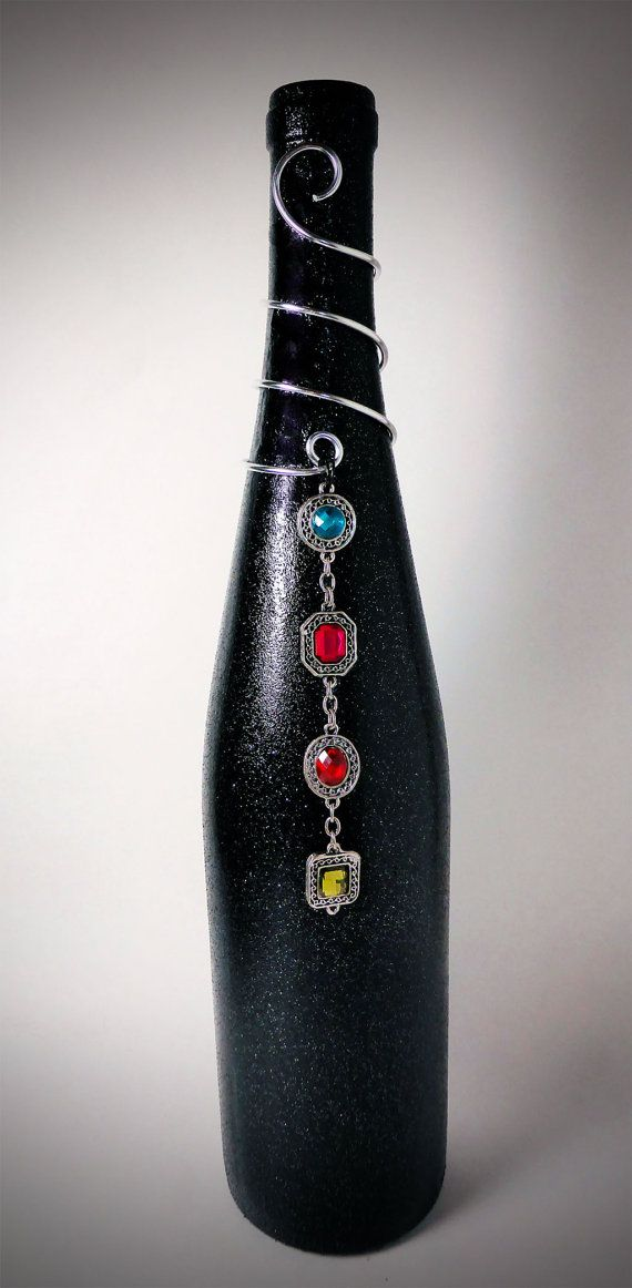 Silver Wire Wrapped Black Sparkly Wine Bottle w/ Multi-Colored Gemstone Pendant