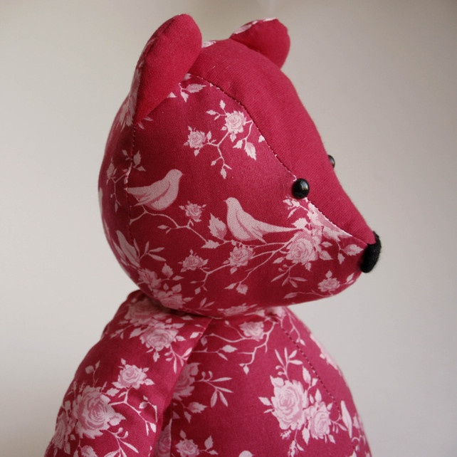 Raspberry Bird Rose Fabric Teddy Bear - Nursey Chic - One of a Kind £30.00