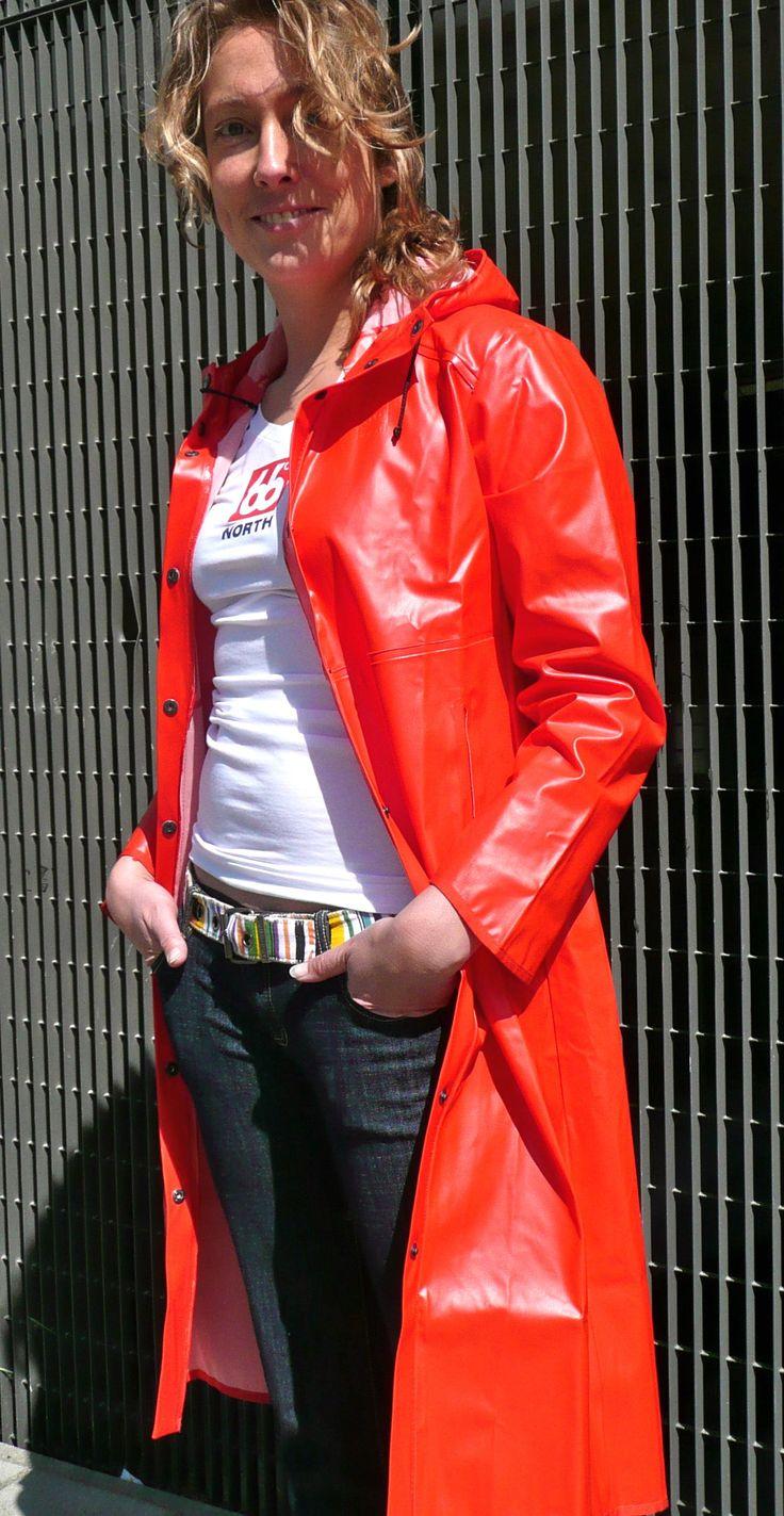 rukka suomi legenda red vintage raincoat
