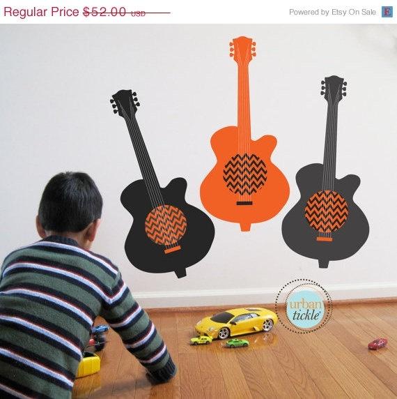 Chevron Guitar Wall Decal Rockstar Chevron Guitars by UrbanTickle, $44.20