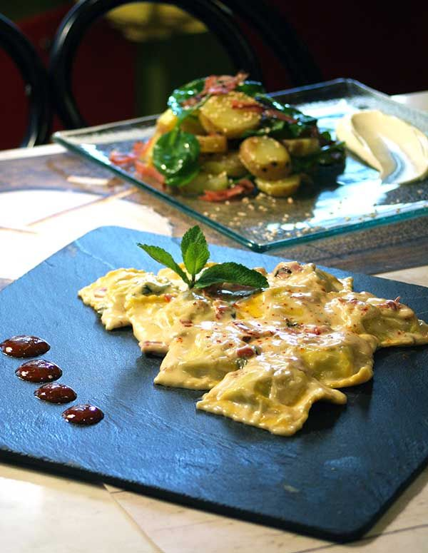 Ravioli stuffed with ricotta and spinach with creamy sauce flavored with sage, prosciutto, porcini and white truffle oil. Paparouna Wine Restaurant & Cocktail Bar | The chef for you today suggests ...