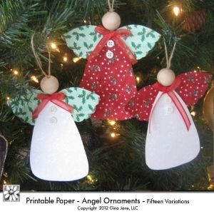 Printable Angels with wooden beads, ribbon - DIY Christmas Ornaments - angels - country classic Christmas Ornaments for kids and moms, teachers and students. Easy and fun. Instructions included. - by Gina Jane DAISIE COMPANY: Clipart, Printables, Graphics, DIY Crafts for Kids, Parties, Candy Wrappers, by artist Gina Jane for DAISIECOMPANY