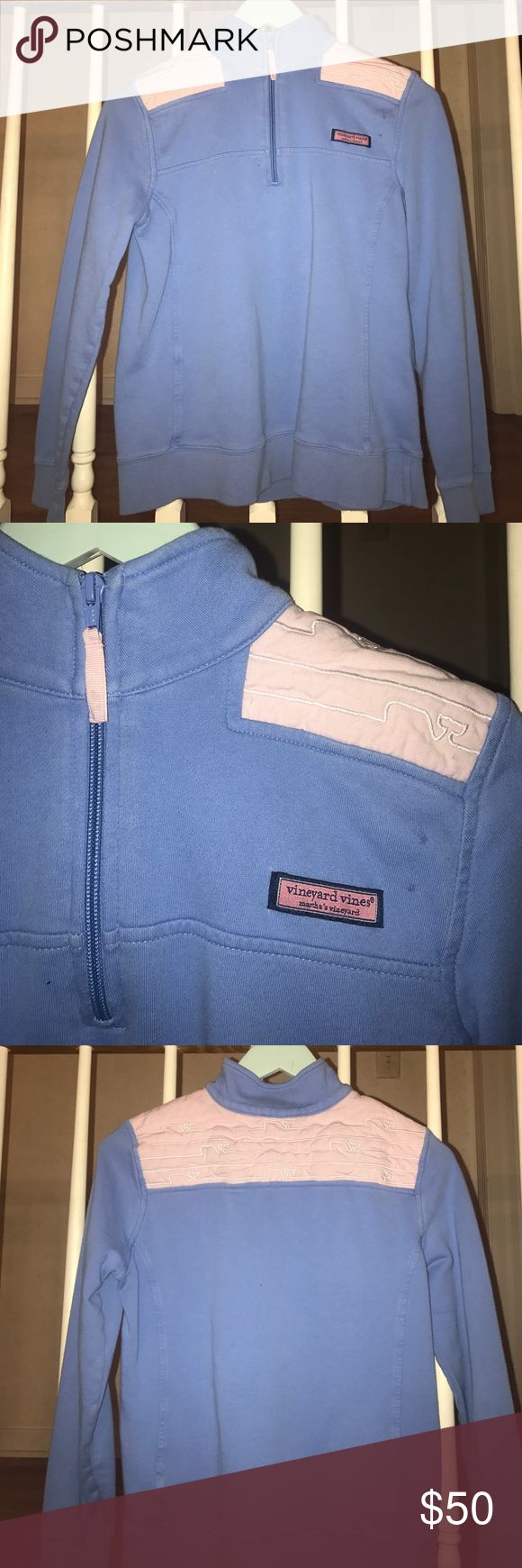 Baby blue vineyard vines shep shirt A baby blue vineyard vines shep shirt with light pink shoulder pads and white detailing in the shape of whales-size small, fits like an extra small. Super fun in the summer months with shorts or jeans, completes your preppy look dressed up or down :) Vineyard Vines Sweaters