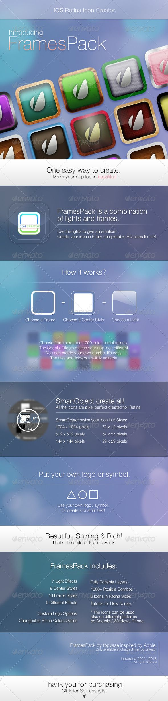 iOS Retina Icon Creator  #GraphicRiver        Need Help? Please feel free to contact me any time if you need my help by using the FAQ Form in the item details or by the comment section. Thank you for purchasing! And don't forget to rate!      Created: 12February13 GraphicsFilesIncluded: PhotoshopPSD HighResolution: Yes Layered: Yes MinimumAdobeCSVersion: CS5 PixelDimensions: 1024x1024 Tags: android #app #appicon #apple #beautiful #carbon #create #creator #design #frames #glass #glossy #hq…
