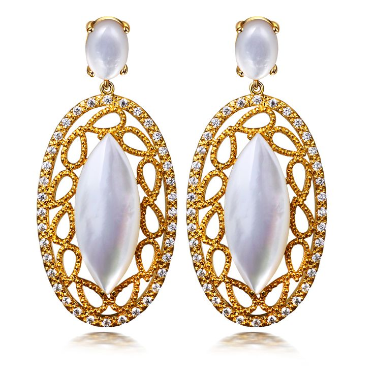 Trendy Women Luxury Oval White Shell Earrings Cubic Zirconia Allergy Free Silver Pin Big Drop Earrings Lead Free Platinum Plated