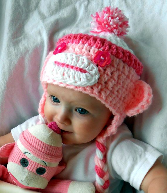 Girl Sock Monkey Hat Pink Monkey Hats Christmas Gift Idea Handmade Baby Cap Stocking Stuffers Girl Clothes Winter Fashion