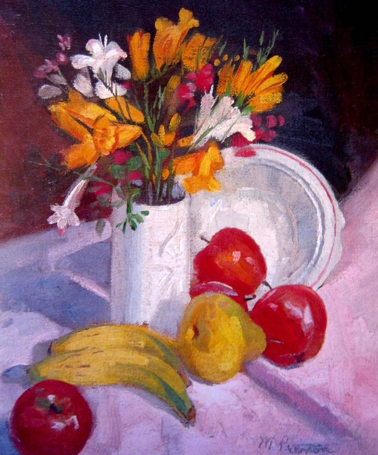 Still Life, Freezias and Fruit