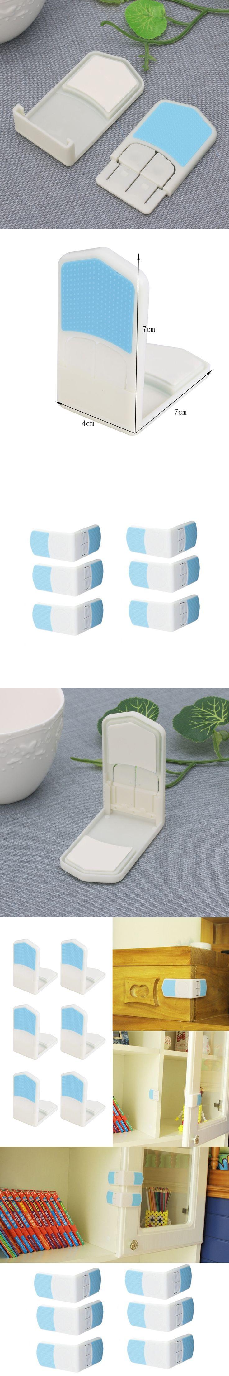 6Pcs Baby Child Safety Locking Plastic Cabinet Drawer Bathroom Door Protection