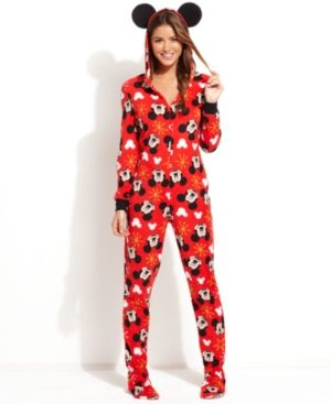 Mickey and Minnie Mouse hooded footed PJs!!