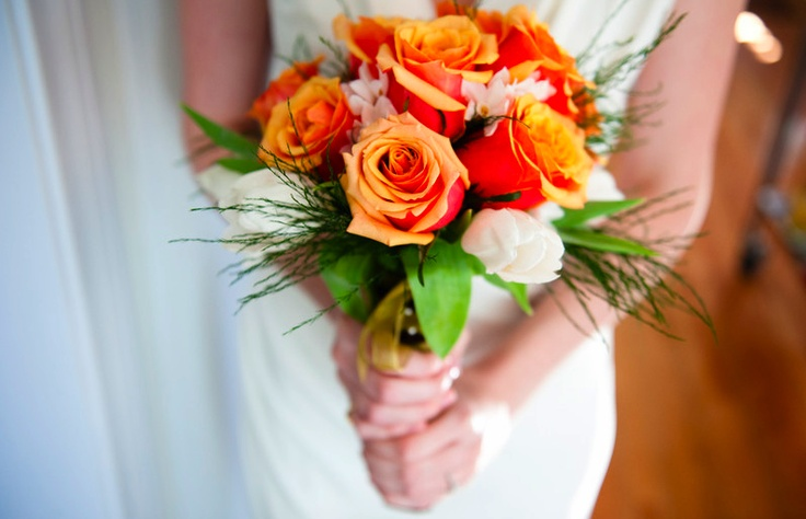 handmade wedding bouquet made with flowers and greenery from Los Angeles Flower District. Tulips, roses, paperwhites. photo cred Tomas Skaringa