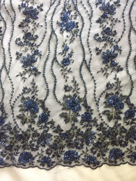 heavy beaded lace fabric super delicate lace navy blue