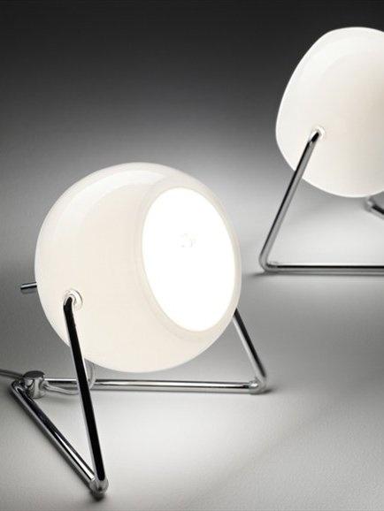 Adjustable chrome Table lamp BELUGA WHITE by @Fabbian | #Design Marc Sadler #light