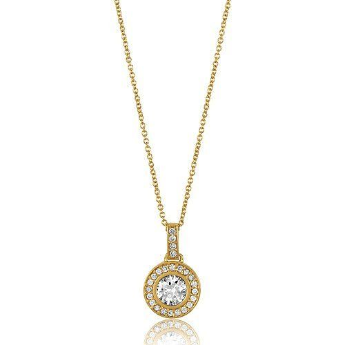 14K Gold Vermeil Cubic Zirconia CZ Round Pendant With Chain Necklace, Valentine's Day Gift BERRICLE. $47.99. Gender : Women. Stone Type : Cubic Zirconia. Metal : Stamped 925. Stone Total Weight (ct.tw) : 1.1