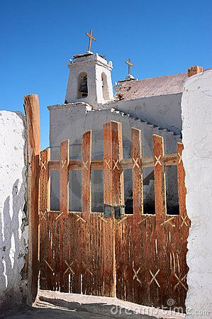 Cactus wood doors of the church of San Francisco de Chiu Chiu in the Atacama Desert, Chile