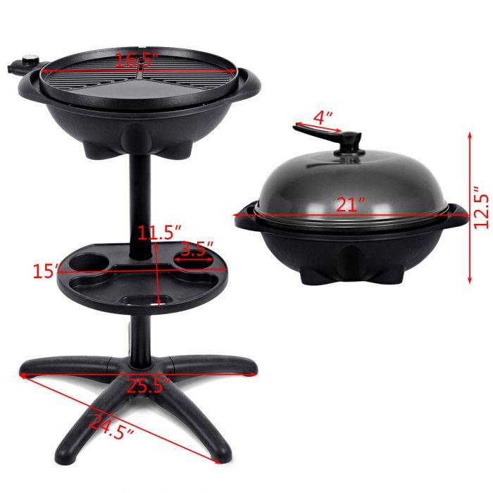 New Electric BBQ Grill 1350W Non-stick 4 Temperature Setting Outdoor Garden Camping