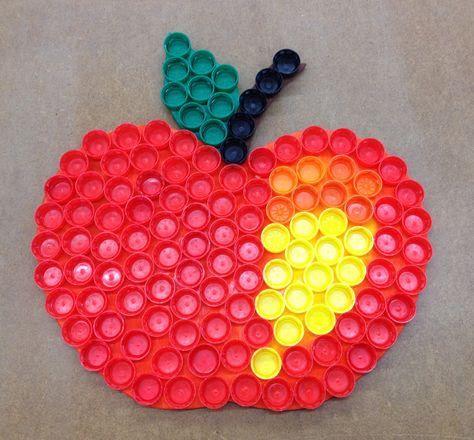 Apple from plastic lids