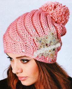 Спиральная женская шапочка. Описание вязания спицами