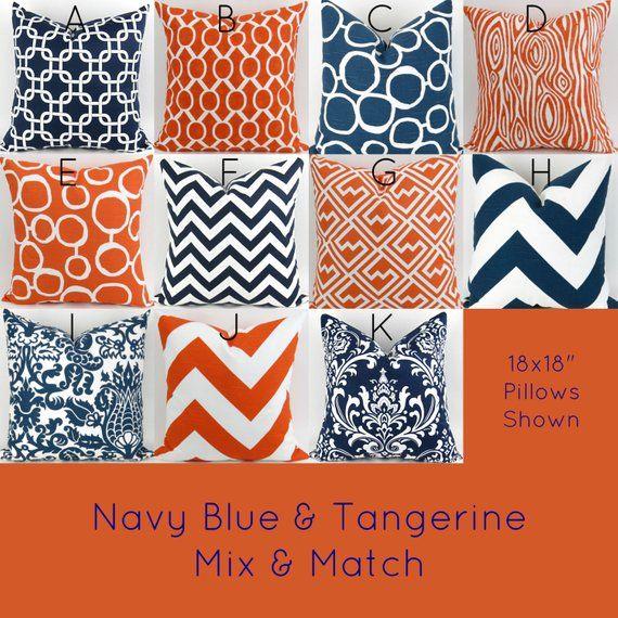 Orange Navy Blue White Throw Pillow Mix