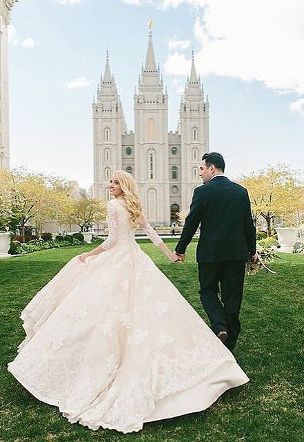 A modest wedding dress that is fit for a princess.