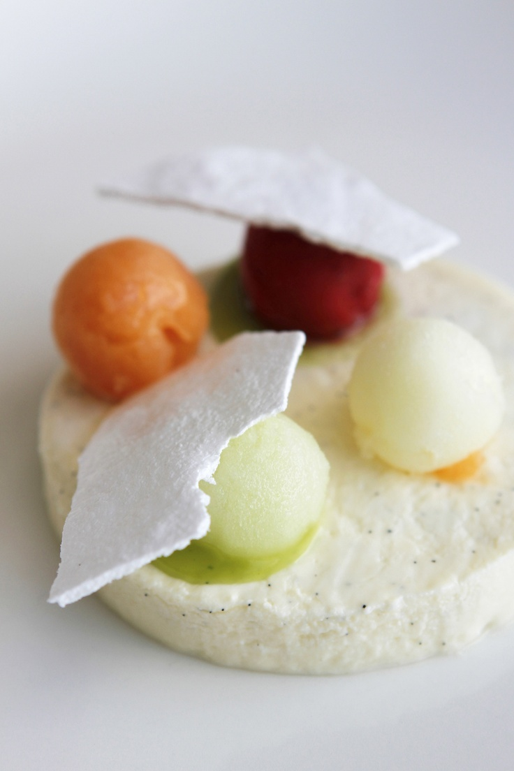 Tokara Restaurant - Vanilla panna cotta with fruit sorbets, meringue & mint
