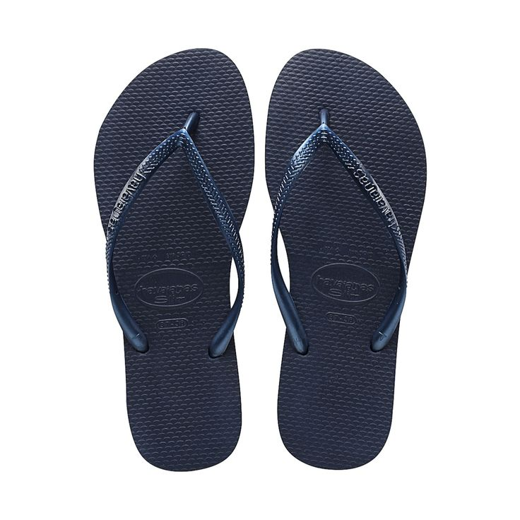 The Havaiana Slim features a sleek metallic strap and Havaianas logo with  their signature textured footbed that provides style and comfort