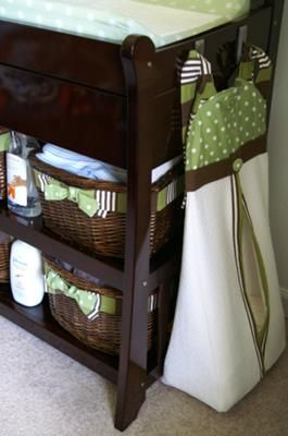 Custom Green and White Polka Dot Baby Diaper Stacker: The Planning Phase of our Baby's Vintage Bicycle Nursery Theme As soon as we learned that we were having a baby boy the gears started turning in my head.