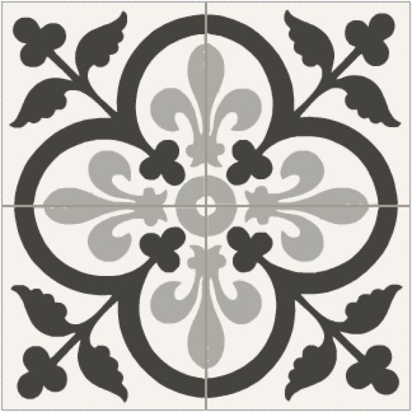 Carrelage ciment coeur de lys noir et blanc patterns for Carrelage cabochon noir et blanc