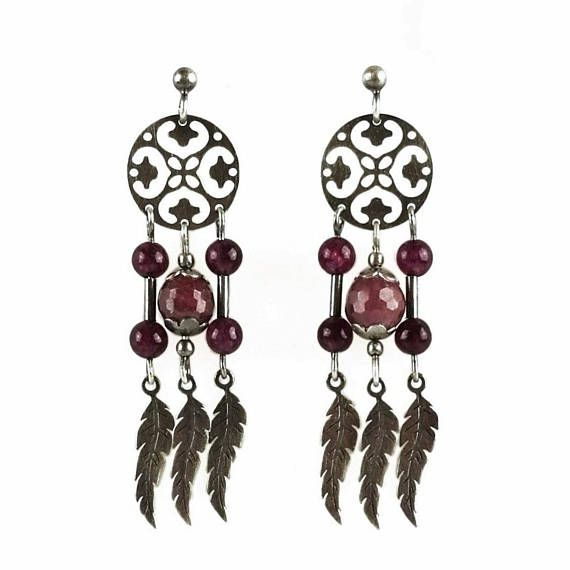 Oxidized sterling silver dreamcatcher earrings with faceted beads of genuine ruby and tiny jades. Designed & made by Agnaart https://www.etsy.com/listing/531589827/genuine-ruby-gemstone-sterling-silver