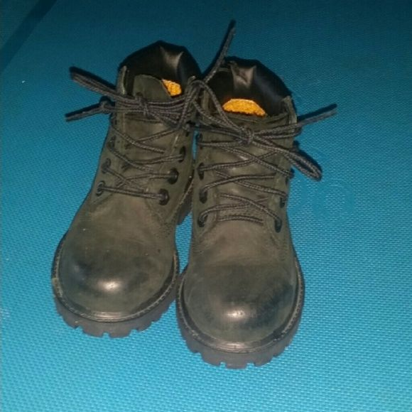Timberland boots All black timberland boots 2-3 years size 8 slight tear, can easily covered with pants. Good condition Timberland Shoes Winter & Rain Boots