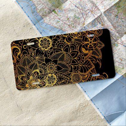 #License Plate Cover Floral Doodle Gold G523 - #flower gifts floral flowers diy
