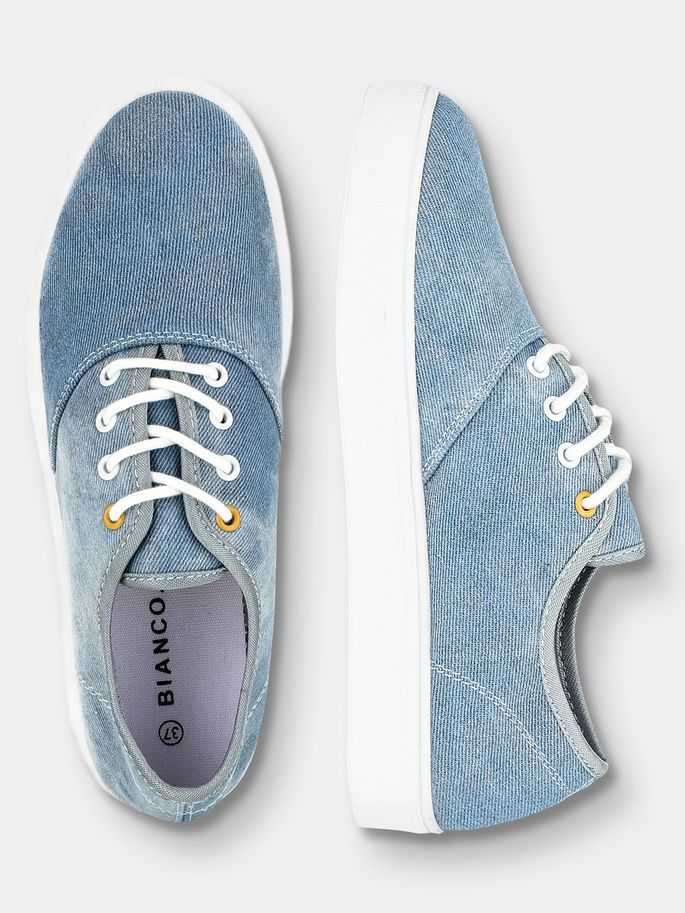 FASHION LACED UP SNEAKERS, Light denim, large