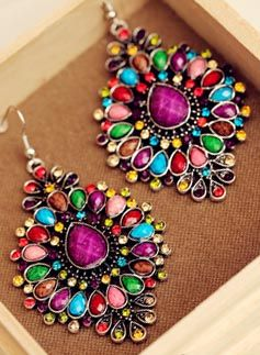 Two pairs of earrings Bohemian colored earrings exaggerated retro fashion for women without pierced ear clip 925 silver-ZZKKO